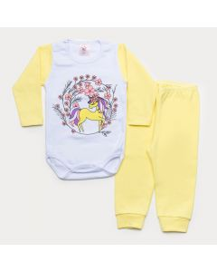 Conjunto de Inverno Bebê Menina Body Branco Manga Longa Unicórnio Calça Amarela