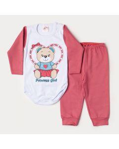 Conjunto de Inverno Bebê Menina Body Branco Manga Longa Ursinho Calça Rosa