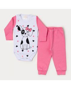 Conjunto de Inverno para Bebê Menina Body Manga Longa Cachorro e Calça Rosa