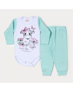 Conjunto de Inverno para Bebê Menina Body Manga Longa Girafa e Calça Verde