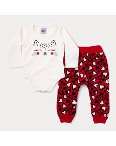 Conjunto de Frio Menina Body Marfim Oncinha e Calça Vermelha Estampada