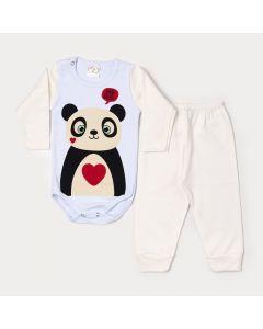 Conjunto de Inverno para Bebê Menina Body Manga Longa Panda e Calça Marfim