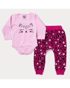 Conjunto de Frio Menina Body Rosa Oncinha e Calça Pink Estampada