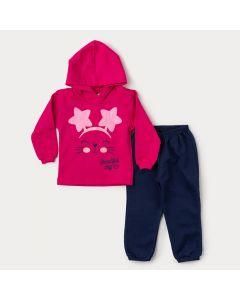 Conjunto de Moletom Bebê Menina Casaco Pink Estampado e Calça Marinho