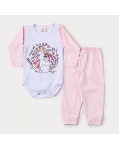 Conjunto de Inverno Bebê Menina Body Branco Manga Longa Unicórnio e Calça Rosa