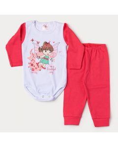 Conjunto de Inverno Bebê Menina Body Branco Manga Longa Fada e Calça Vermelha