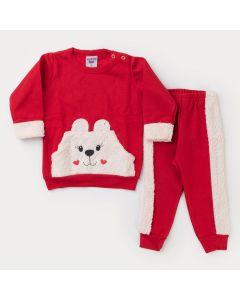 Conjunto de Inverno Bebê Menina Vermelho Urso com Pelinho em Moletom