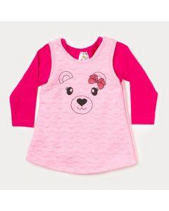 Conjunto Inverno Bebê Menina Body Manga Longa Pink e Vestido Regata Rosa