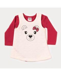Conjunto Inverno Bebê Menina Body Manga Longa Vermelho e Vestido Regata Salmão