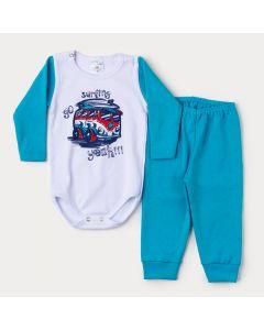 Conjunto de Inverno Bebê Menino Body Branco Manga Longa Kombi e Calça Azul