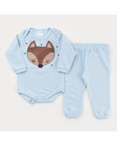 Conjunto de Frio Azul para Bebê Menino Body Manga Longa Raposinha e Calça Básica
