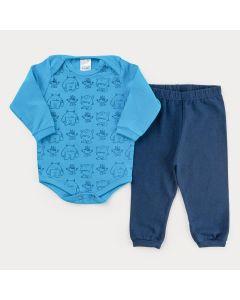 Conjunto de Inverno para Bebê Menino Body Azul Monstrinho e Calça Marinho