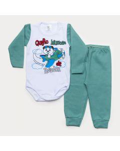 Conjunto de Inverno Bebê Menino Body Branco Manga Longa Avião Calça Verde
