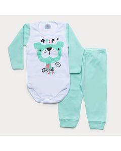 Conjunto de Inverno Bebê Menino Body Branco Manga Longa Cachorrinho Calça Verde