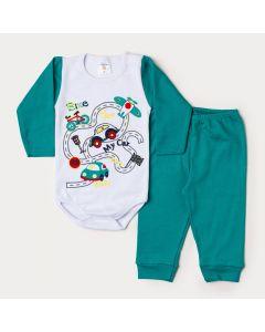 Conjunto de Inverno Bebê Menino Body Branco Manga Longa Carro Calça Verde