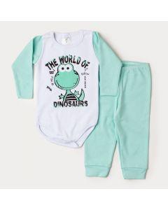 Conjunto de Inverno Bebê Menino Body Branco Manga Longa Dino Calça Verde