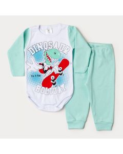 Conjunto de Inverno Bebê Menino Body Branco Manga Longa Dino Skatista Calça Verde