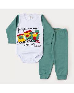 Conjunto de Inverno Bebê Menino Body Branco Manga Longa Trenzinho Calça Verde