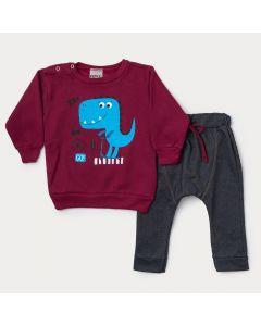 Conjunto de Frio para Bebê Menino Blusa Vermelha Dinossauro e Calça Preta