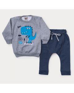 Conjunto de Frio para Bebê Menino Blusa Cinza Dinossauro e Calça Marinho