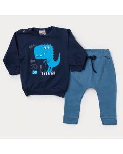 Conjunto de Frio para Bebê Menino Blusa Marinho Dinossauro e Calça Azul