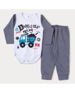 Conjunto de Inverno Bebê Menino Body Branco Manga Longa Caminhão e Calça Cinza
