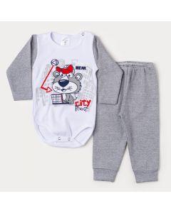 Conjunto de Inverno Bebê Menino Body Branco Manga Longa Leão e Calça Cinza