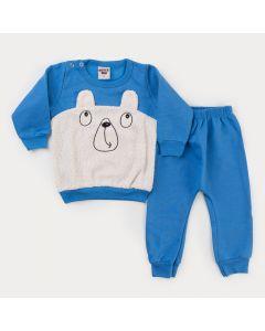 Conjunto em Moletom Azul para Bebê Menino Casaco Bordado Urso Peluciado e Calça