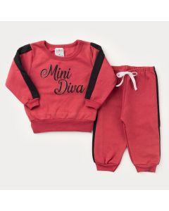 Conjunto de Inverno para Bebê Menina Vermelho com Listra Preta Mini Diva