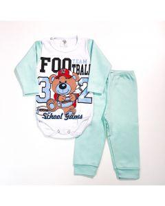 Conjunto de Inverno com Calça Verde e Body de Manga Longa Futebol