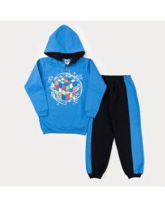 Conjunto de Frio para Menino Casaco Azul Estampado com Capuz e Calça Preta