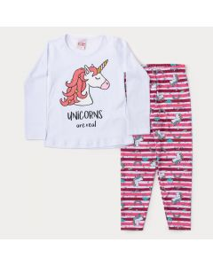 Conjunto de Frio Infantil Feminino Blusa Branca Unicórnio e Legging Listrada