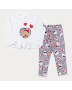 Conjunto de Inverno para Menina Blusa Branca Ursinho e Legging Estampada