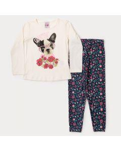Conjunto para Menina Blusa Marfim Manga Longa Cachorrinho e Legging Floral