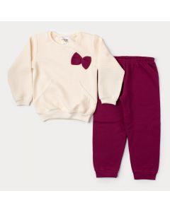 Conjunto de Inverno Menina Blusa Marfim com Bolso e Calça Bordô