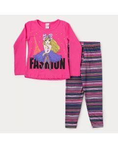 Conjunto de Inverno para Menina Blusa Pink Boneca e Legging Listrada