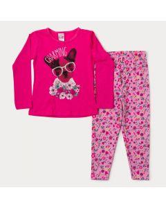 Conjunto para Menina Blusa Pink Manga Longa Cachorrinho e Legging Floral