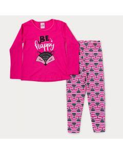 Conjunto de Inverno Menina Blusa Pink Raposa e Legging Estampada