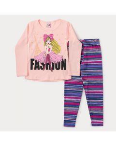 Conjunto de Inverno para Menina Blusa Rosa Boneca e Legging Listrada