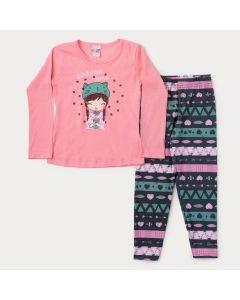 Conjunto de Inverno para Menina Blusa Rosa Boneca e Legging Preta