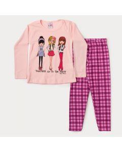Conjunto Infantil Feminino de Inverno Blusa Rosa Estampada e Legging Xadrez