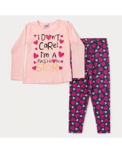 Conjunto de Inverno Infantil Feminino Blusa Rosa Estampada Legging Coração