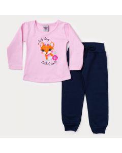 Conjunto de Inverno Infantil Feminino Blusa Rosa Raposa e Calça Marinho