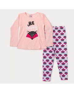 Conjunto de Inverno Menina Blusa Rosa Raposa e Legging Estampada