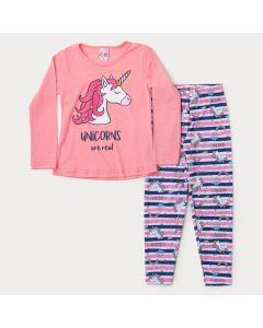 Conjunto de Frio Infantil Feminino Blusa Rosa Unicórnio Legging Listrada