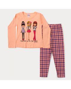 Conjunto Infantil Feminino de Inverno Blusa Salmão Estampada e Legging Xadrez