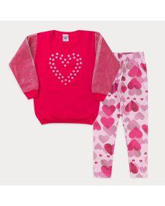 Conjunto de Inverno Infantil Feminino Casaco Pink Coração Legging Rosa Estampado