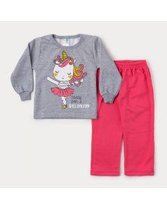 Conjunto de Inverno Menina Casaco Cinza Unicórnio e Calça Rosa
