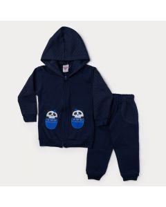 Conjunto de Moletom Marinho Infantil Feminino Jaqueta de Panda e Calça