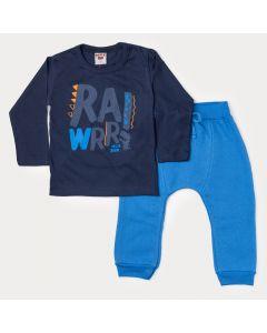 Conjunto Infantil Masculino de Inverno Blusa Marinho Estampada e Calça Azul